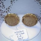ART Indian Head wooden nickel coin clip earrings vintage clip earrings