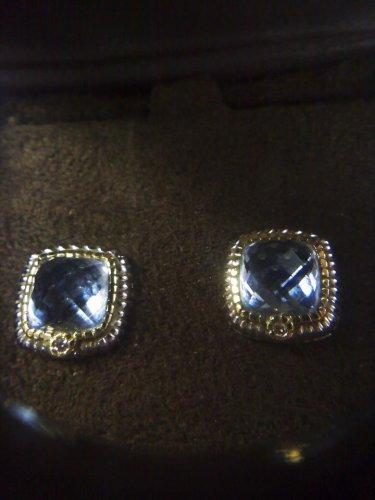SOLD - Judith Ripka high profile cushion cut post earrings in 925 sterling silver