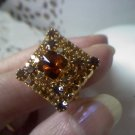 rhinestone 3 tiered in topaz amber root beer brown set in goldtone vintage ring size 8