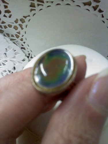 1970's MOOD ring in silvertone size 7 to 7 1/2