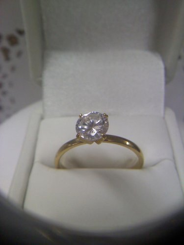 Jewelry store CZ-diamond solitaire sample ring - vintage gold plated size 12