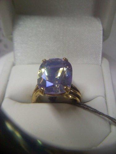 UTC 925 Lavender Lustre CZ solitaire cocktail ring - vintage gold plated size 5