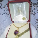 Amanda Smith vintage faux amethyst with crystals goldtone necklace in original box