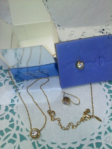 "Avon rhinestone ""Bezel set CZ - two piece set goldtone"" new in box necklace and earrings"