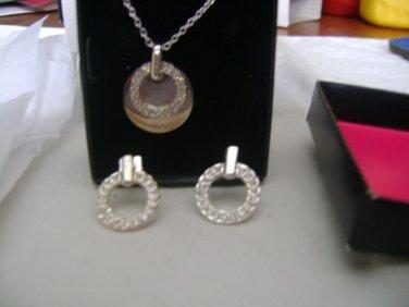 "AVON ""Florence Gift Set"" rhinestone circles on silvertone from 2010"