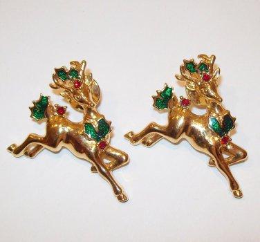 Christmas 1992 Avon Reindeer Pin pair Red Rhinestones Green Enamel on goldtone
