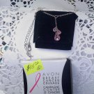 """Avon """"Breast Cancer Crusade CZ Drop Necklace"""" New in box 2010 pink"""