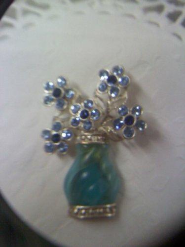 Avon SH Vintage Blue Rhinestone Flower Pot Brooch