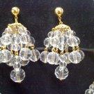 Avon clear faux crystal chandelier pierced earrings on goldtone from 1992
