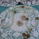 Faux pearl, Aurora Borealis crystals and brass filigree beads tassel necklace with clip earrings