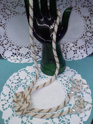 Faux Pearl Rope Tassel Necklace 53 inch Long 1960s Vintage Jewelry
