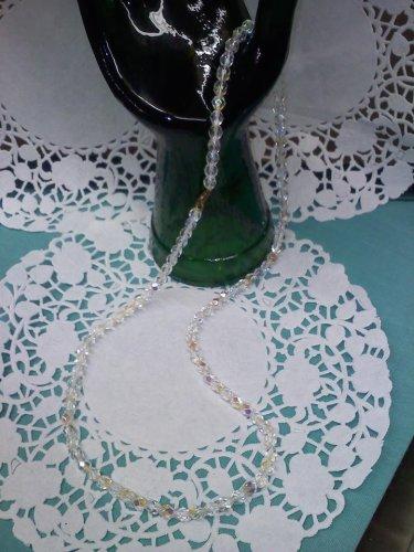 Aurora Borealis crystal bead 24 inch long necklace