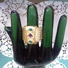 Gold plated with emerald green and amethyst stones Size 10 wide band ring in 18kge - Made in the USA