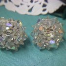 Aurora Borealis crystal bead clip earrings