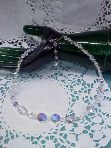 Aurora Borealis crystal bead 16 inch long choker necklace
