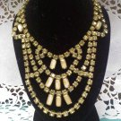 Vintage pale yellow rhinestone necklace on goldtone with extra flair