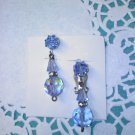 Blue Aurora Borealis crystal dangle clip on earrings with rhinestones