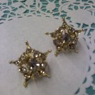 Coro rhinestone and goldtone screw back earrings