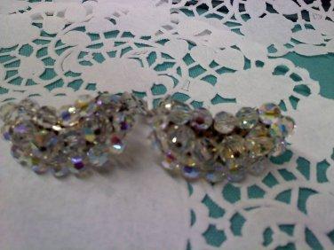 Aurora Borealis crystal bead extra tall crescent clip earrings
