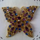 Purple, sapphire blue and topaz rhinestones Butterfly brooch pin set in goldtone