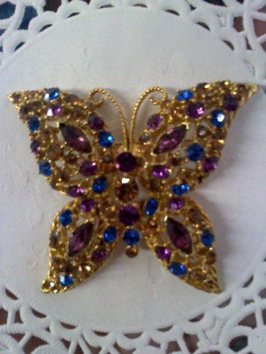 Purple, sapphire blue and topaz rhinestones Butterfly brooch pin set in goldtone