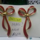 Avon red enamel graceful bow vintage pierced earrings on goldtone