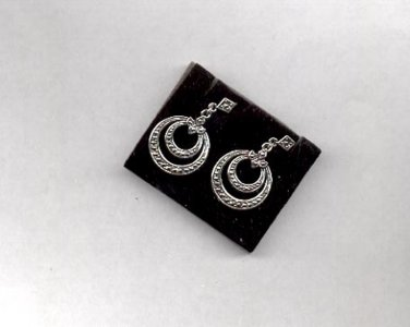 "Avon faux Marcasite silvertone pierced earrings ""Hoop to Hoop"" 1995"