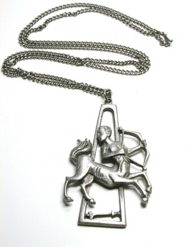 Cathedral Genuine Pewter Sagitarius pendant on a 30 inch long chain vintage zodiac necklace