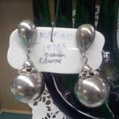 Marino vintage Chrome orb silvertone ball swinging pendant clip earrings