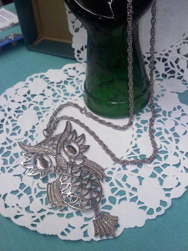 Vintage 70'S large FABULOUS reticulated articulated OWL pendant necklace dangle MOD