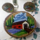 Vintage Hand Painted Red covered bridge on Wood slices Brooch with clip earrings