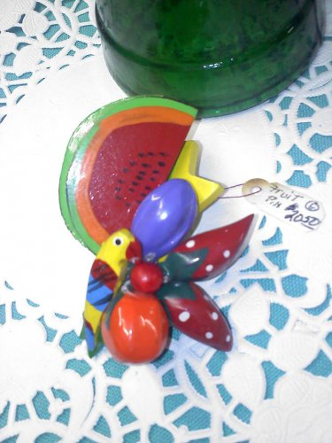 Philippine Handmade hand painted parrot eating fruit pin