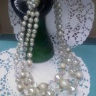 Faux pearl, Aurora Borealis crystal bead fancy clasp necklace 3 strand