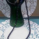 Faceted black glass bead 18 inch long vintage necklace