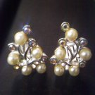 Sarah Coventry SC faux pearl and Aurora Borealis vintage clip earrings silvertone