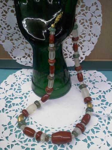 Glass and marble bead 18 inch long vintage 1980's necklace