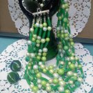 7 strand Lucite, faux pearl and marble... green necklace with clip earrings - Japan