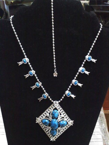 Madeira Creations 1960's faux turquoise and silver- made in England