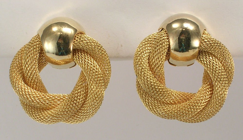 Avon Golden Weave goldtone clip earrings