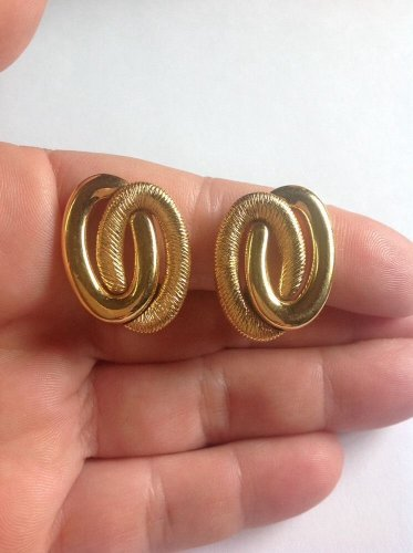 Monet goldtone textured and polished clip earrings