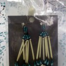 Sioux hand crafted - hand-beaded porcupine quill dangle pierced earrings by Tabatha Swift Hawk
