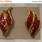 Avon red glitter enamel flame or wing shaped vintage pierced earrings on goldtone