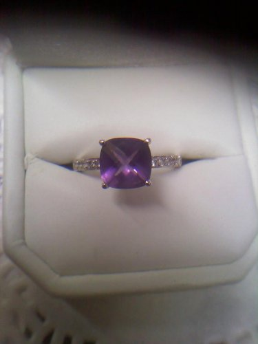 EMA jeweler's 14k white gold checkerboard cut amethyst solitaire ring size 7
