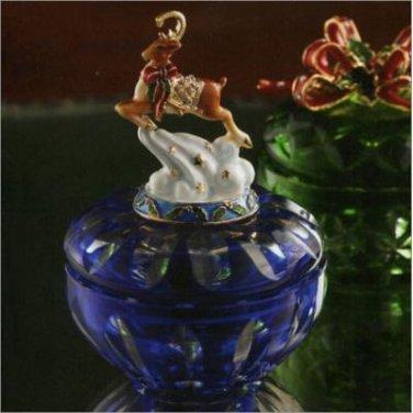Jeweled Heirloom Reindeer Box - Blue Cobalt Trinket Box
