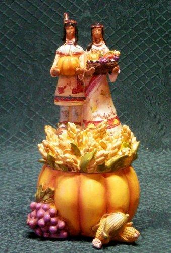 Fall Harvest Indian Secret Box-Indian Figurine