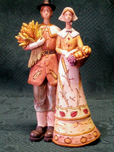 "Harvest Pilgrim Couple Figurine-10"" Primitive Pilgrim Figurine"
