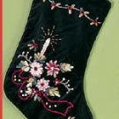 Green Velvet Christmas Stocking-Lined 14 inch Victorian Stocking