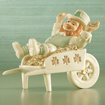 Cart Full of Wishes Leprechaun Figurine by Lenox