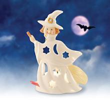 Lenox Flying Witch Tea Light Candle Holder-Lenox Halloween