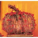 Orange Beaded Rattan Pumpkin-Lighted Decoration for Halloween-7 inch